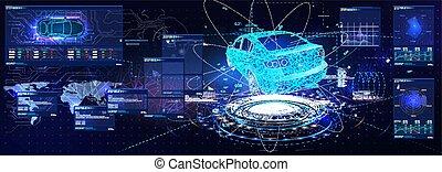 Futuristic car user interface. HUD UI. Hologram of the car, ...