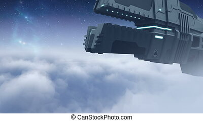 Futuristic cargo spaceship flying - 24 fps