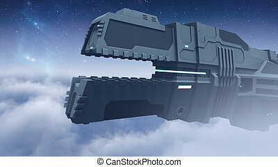 Futuristic cargo spaceship flying 3D rendering