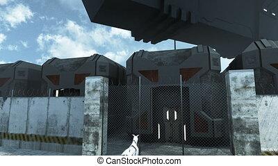 Futuristic cargo spaceship hoovering over sci fi prison. 3D...