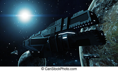 3D illustration of a futuristic cargo spaceship flying through the galaxy. A cosmic scene with some planets, earth and stars on the background.