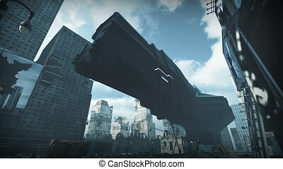 Futuristic cargo spaceship landing in sci fi city. 3D rendering