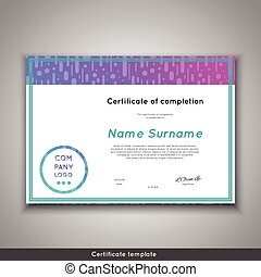 Futuristic certificate of completion - appreciation, achievement, graduation, diploma or award - template with funny geometrical scandinavian pattern with lines.
