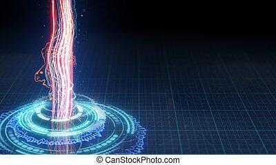 futuristic circular shape and vertical energy beam