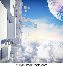 Futuristic city - Background of futuristic city in the sky