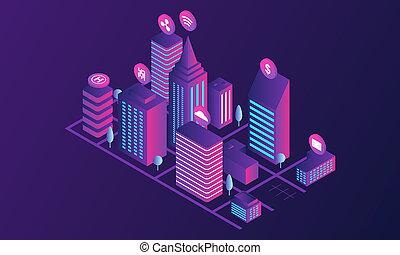 Futuristic city concept banner, isometric style