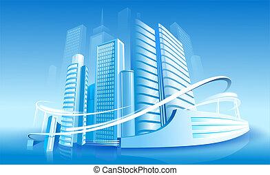 Futuristic City on the Blue Background