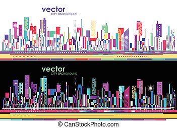 Futuristic City skylines at day and night, vector...