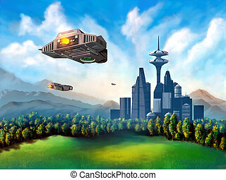 Space ships travelling to a futuristic city. Mixed media illustration.