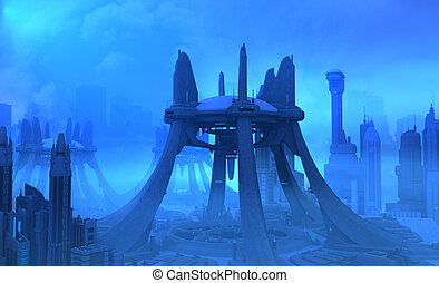 Futuristic city - 3d illustration of a futuristic city