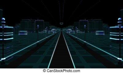Futuristic City to Greenscreen - Computer generated...