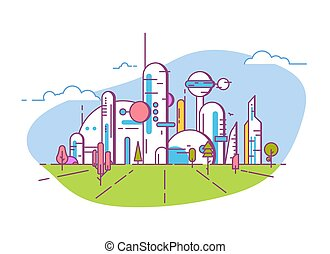 Futuristic city view line style banner