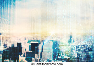 Futuristic city vision - Background of a cityscape with...
