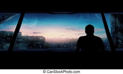 Futuristic City With Man Looking Out - Man goes to large...