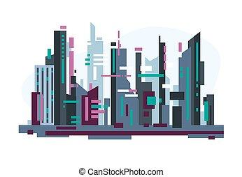 Futuristic city with skyscrapers