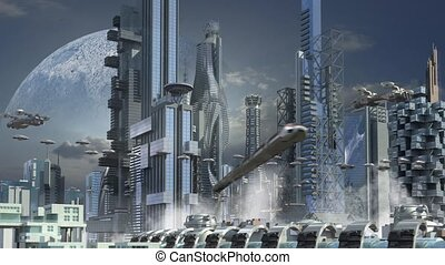 Futuristic city with skyscrapers - Futuristic cityscape with...