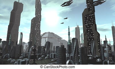 Futuristic city with spaceships passing by - Animation of a...