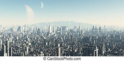 Futuristic Cityscape - 2 - View across a futuristic sci-fi...