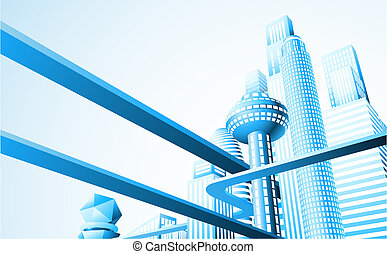 Futuristic cityscape - Abstract illustration of a futuristic...