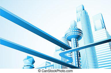 Futuristic cityscape - Abstract illustration of a futuristic...
