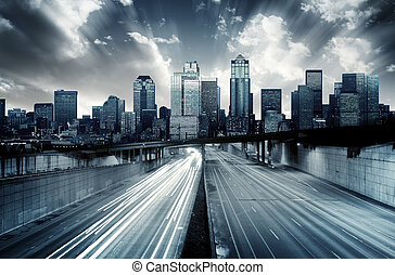 Futuristic Cityscape with blue tint
