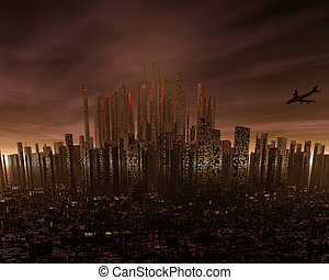 futuristic cityscape with airliner silhouette