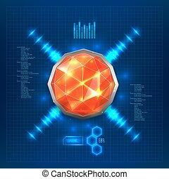 Futuristic interface with red gem or luminous hemisphere....