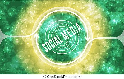 Futuristic colored abstract background and social media symbol