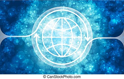 Futuristic colored abstract background and transparent globe symbol