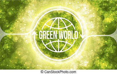 Futuristic colored abstract background and transparent green world symbol