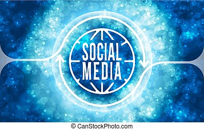 Futuristic colored abstract background and transparent social media symbol