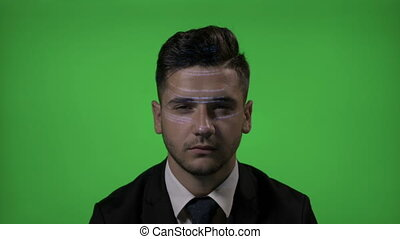 Futuristic corporate programmer in suit using an augmented...