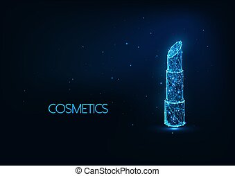 Futuristic cosmetics, make up concept with glowing low polygonal lipstick on dark blue background.