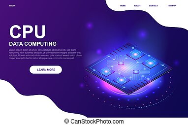 Futuristic CPU microchip concept. Flat vector illustration. Web page or website template.