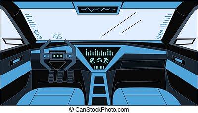 Futuristic design inside car vector cartoon outline illustration. Future Interior of automobile background.