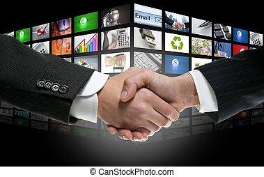 futuristic, digitális, életkor, tv, és, barázdál, háttér