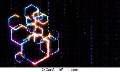 Futuristic digital big data processing technology smart powerful energy and violet numeric matrix background