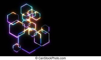 futuristic digital big data processing technology smart powerful energy neon light effect