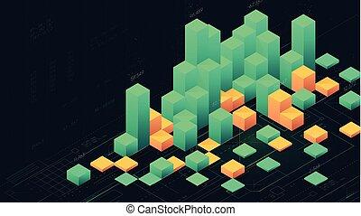 Futuristic digital data visualization, infographic columns of business analytics