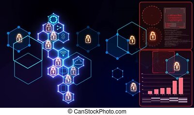 Futuristic digital powerful locked abstract cyber security connection system with integrated hexagon with padlock and keyhole icon and analysis red graph radar on right