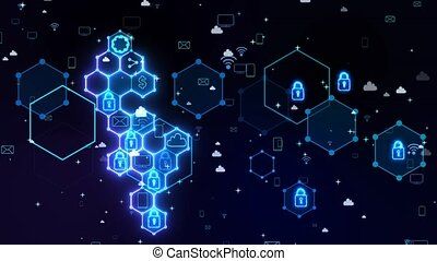 Futuristic digital social media abstract cyber security connection system with integrated hexagon with padlock and keyhole wifi TV smartphone email share sitting icon