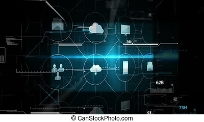 futuristic display of technology against dark background 4k