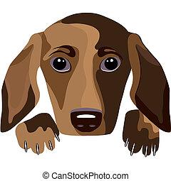 Futuristic dog, vector portrait - Futuristic dog - a...