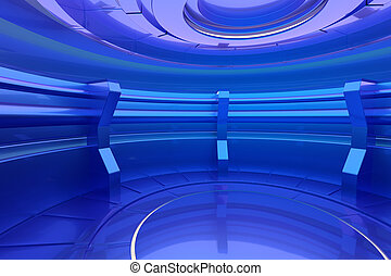 Futuristic empty stage in spaceship. Glossy interior concept. 3d rendering