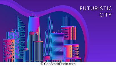 Futuristic, energy technology and cityscape vector abstract concept. Image of light rays, stripes lines with blue and violet light. Futuristic city and dark blue background.