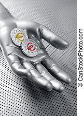 futuristic euro business coin silver hand