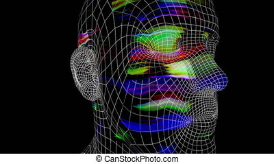 Artificial Intelligence 103: Futuristic facial recognition 3D animated head (Loop).