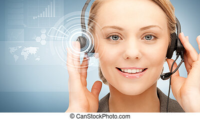 futuristic female helpline operator with headphones and...