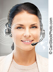futuristic female helpline operator with headphones and...