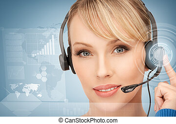 futuristic female helpline operator with headphones and ...